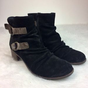 Paul Green Newbury Ankle Bootie Black Suede Size 8